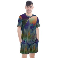Mountains Abstract Mountain Range Men s Mesh Tee And Shorts Set