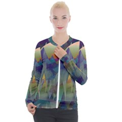 Mountains Abstract Mountain Range Casual Zip Up Jacket by Nexatart