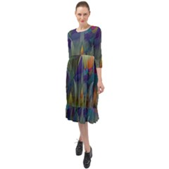 Mountains Abstract Mountain Range Ruffle End Midi Chiffon Dress
