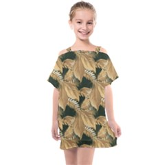 Scrapbook Leaves Decorative Kids  One Piece Chiffon Dress