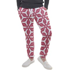 White Background Red Flowers Texture Men s Jogger Sweatpants