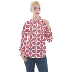 White Background Red Flowers Texture Women s Long Sleeve Pocket Shirt