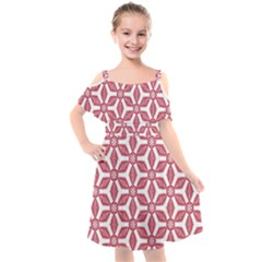 White Background Red Flowers Texture Kids  Cut Out Shoulders Chiffon Dress