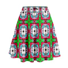 Squares Square Pattern High Waist Skirt by Nexatart