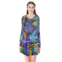 Flowers Abstract Branches Long Sleeve V Neck Flare Dress
