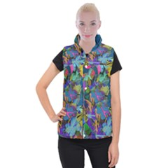 Flowers Abstract Branches Women s Button Up Vest