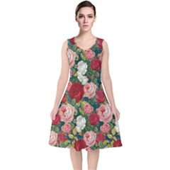 Roses Repeat Floral Bouquet V Neck Midi Sleeveless Dress