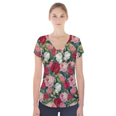 Roses Repeat Floral Bouquet Short Sleeve Front Detail Top