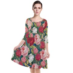 Roses Repeat Floral Bouquet Quarter Sleeve Waist Band Dress