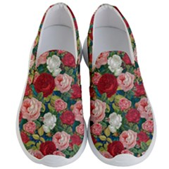 Roses Repeat Floral Bouquet Men s Lightweight Slip Ons