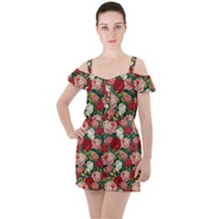 Roses Repeat Floral Bouquet Ruffle Cut Out Chiffon Playsuit