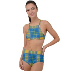 Plaid Tartan Scottish Blue Yellow High Waist Tankini Set by Nexatart