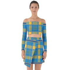 Plaid Tartan Scottish Blue Yellow Off Shoulder Top With Skirt Set by Nexatart
