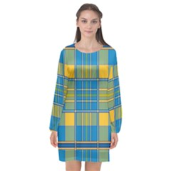 Plaid Tartan Scottish Blue Yellow Long Sleeve Chiffon Shift Dress