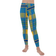 Plaid Tartan Scottish Blue Yellow Kids  Lightweight Velour Leggings