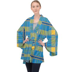 Plaid Tartan Scottish Blue Yellow Velvet Kimono Robe