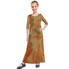 Mottle Color Movement Colorful Kids  Quarter Sleeve Maxi Dress by Nexatart