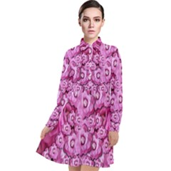 Happy Florals  Giving  Peace Ornate Long Sleeve Chiffon Shirt Dress