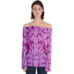 Happy Florals  Giving  Peace Ornate Off Shoulder Long Sleeve Top by pepitasart