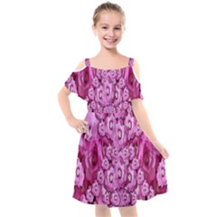Happy Florals  Giving  Peace Ornate Kids  Cut Out Shoulders Chiffon Dress by pepitasart