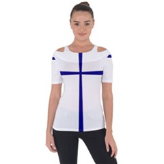 Byzantine Cross Shoulder Cut Out Short Sleeve Top by abbeyz71