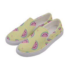 Watermelon Wallpapers  Creative Illustration And Pattern Women s Canvas Slip Ons by BangZart