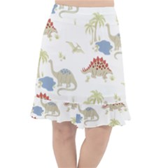 Dinosaur Animal Art Pattern Fishtail Chiffon Skirt