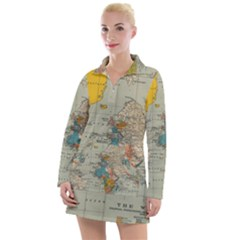 World Map Vintage Women s Long Sleeve Casual Dress by BangZart
