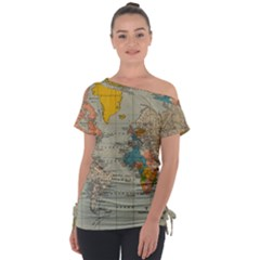World Map Vintage Tie Up Tee by BangZart