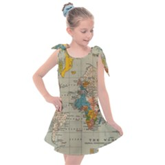 World Map Vintage Kids  Tie Up Tunic Dress by BangZart