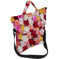 Roses Color Beautiful Flowers Fold Over Handle Tote Bag