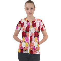 Roses Color Beautiful Flowers Short Sleeve Zip Up Jacket