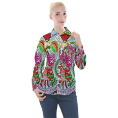 Supersonic Volcanic Splash Women s Long Sleeve Pocket Shirt