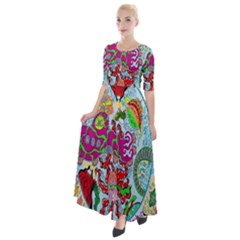 Supersonic Volcanic Splash Half Sleeves Maxi Dress by chellerayartisans