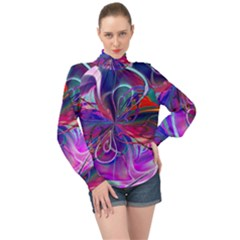 Rainbow Paint Pattern 1 High Neck Long Sleeve Chiffon Top by Cveti