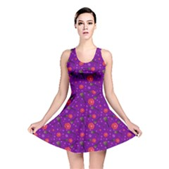 Roses And Guitars Purple Reversible Skater Dress by treegold