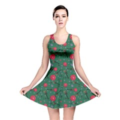 Roses And Guitars Green Reversible Skater Dress by treegold