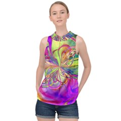 Rainbow Paint Pattern 2 High Neck Satin Top by Cveti