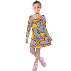 Yellow Marie Print Kids  Long Sleeve Velvet Dress by AuroraMountainFashion