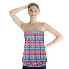 Mayan Pattern Pink Strapless Top by Cveti