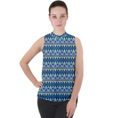 Mayan Pattern Blue Mock Neck Chiffon Sleeveless Top by Cveti