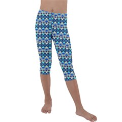 Mayan Pattern Blue Kids  Lightweight Velour Capri Leggings  by Cveti
