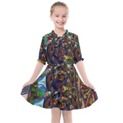 Las Vegas Downtown Urban Abstract Art Kids  All Frills Chiffon Dress by CrypticFragmentsDesign