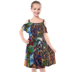 Las Vegas Downtown Urban Abstract Art Kids  Cut Out Shoulders Chiffon Dress by CrypticFragmentsDesign