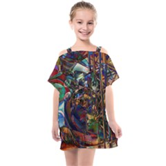 Las Vegas Downtown Urban Abstract Art Kids  One Piece Chiffon Dress by CrypticFragmentsDesign
