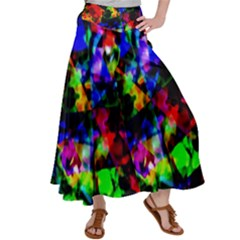Multicolored Abstract Print Satin Palazzo Pants by dflcprintsclothing