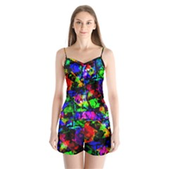 Multicolored Abstract Print Satin Pajamas Set by dflcprintsclothing