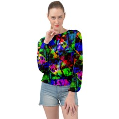 Multicolored Abstract Print Banded Bottom Chiffon Top by dflcprintsclothing