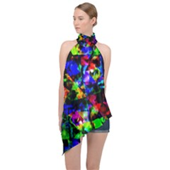 Multicolored Abstract Print Halter Asymmetric Satin Top by dflcprintsclothing