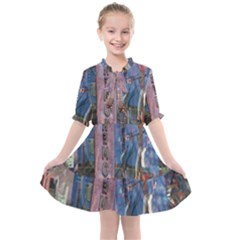 Las Vegas Downtown Urban Abstract Reflections Kids  All Frills Chiffon Dress by CrypticFragmentsDesign